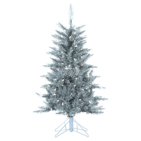 4ft Pre-Lit Artificial Christmas Tree Slim Silver Tuscany Tinsel Tree Slim - Clear Lights - image 1 of 1