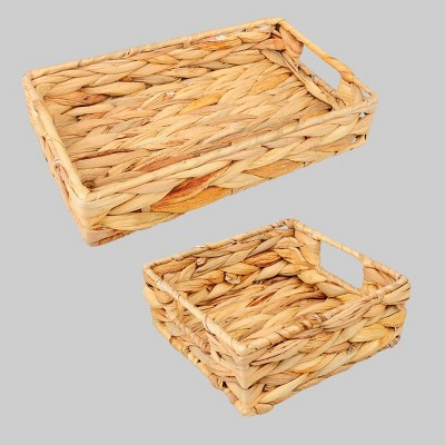 2ct Water Hyacinth Woven Storage Baskets  - Bullseye's Playground™