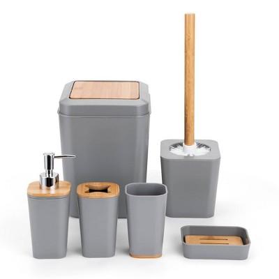 6pc Plastic/Bamboo Bathroom Set Gray - KRALIX