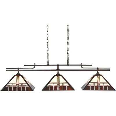 "Robert Louis Tiffany Pirro 56"" Wide Bronze Alfred Geometric Kitchen Island Light"