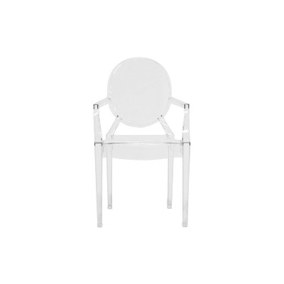 Set Of 2 Dymas Modern Acrylic Armed Ghost Chairs Clear   Baxton Studio :  Target