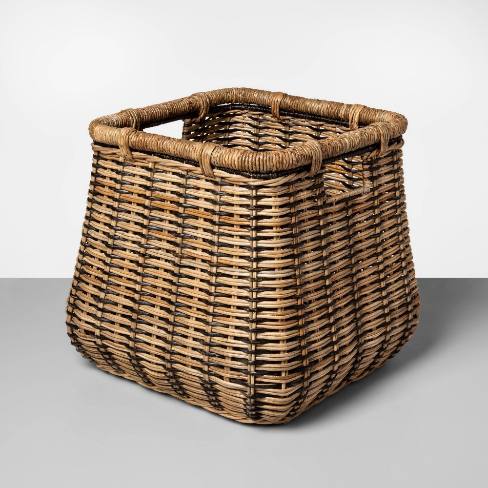 """Image of """"Large Rounded Square Basket Natural with Black Accents 14.5""""""""x16.5"""""""" - Threshold , Green"""""""