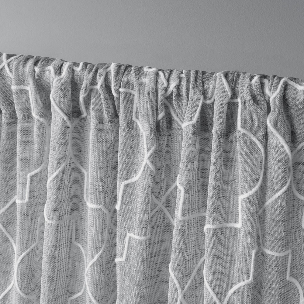 Cali Embroidered Sheer Rod Pocket Window Curtain Panel Pair Dove Grey 50x108 - Exclusive Home, Dove Gray