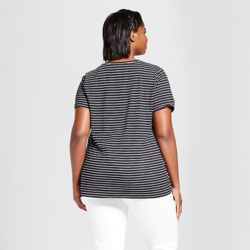 52f29c5f5bd Women s Plus Size Striped V-Neck T-Shirt - Ava   Viv™ Black   Target