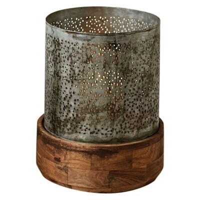 Metal with Wood Base Hurricane Candle Holder - 3R Studios