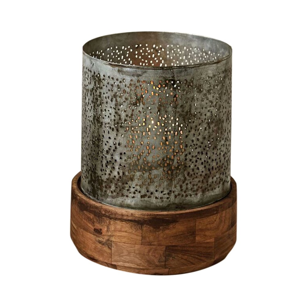 Image of Metal with Wood Base Hurricane Candle Holder - 3R Studios, Gray