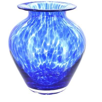 Blue Rose Polish Pottery Cobalt Confetti Glass Vase