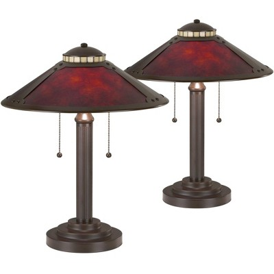 "Robert Louis Tiffany Mission Desk Table Lamps 18 1/2"" High Set of 2 Art Deco Bronze Natural Mica Shade for Bedroom Bedside Office"