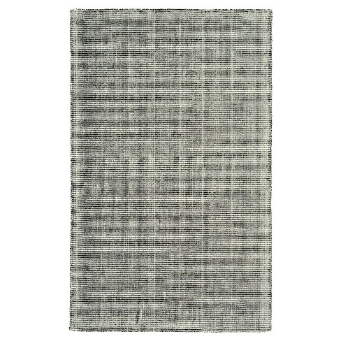 Black/Gray Solid Woven Area Rug - (5'X8') - Room Envy - image 1 of 4