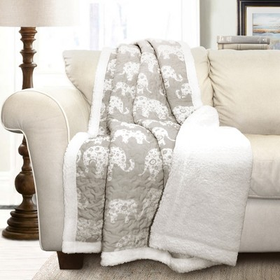 Gray Elephant Sherpa Throw (50 x60 )- Lush Decor