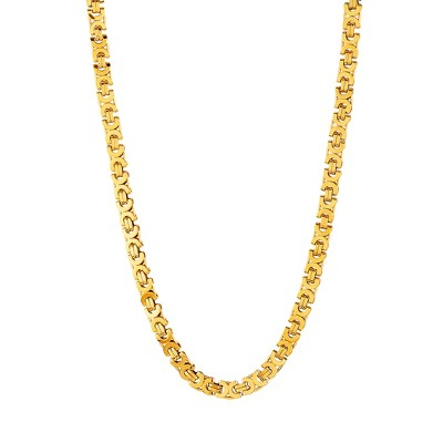 "Men's Crucible Stainless Steel Flat Byzantine Necklace - Gold (22"")"