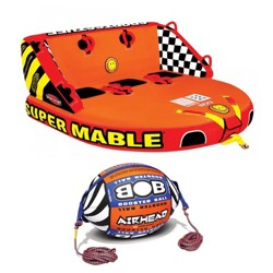 Airhead Triple Rider Towable Tube & Tow Rope w/ Inflatable Buoy Booster Ball