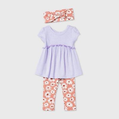 Baby Girls' Floral Hatchi Short Sleeve Top & Bottom Set - Cat & Jack™ Lavender 3-6M
