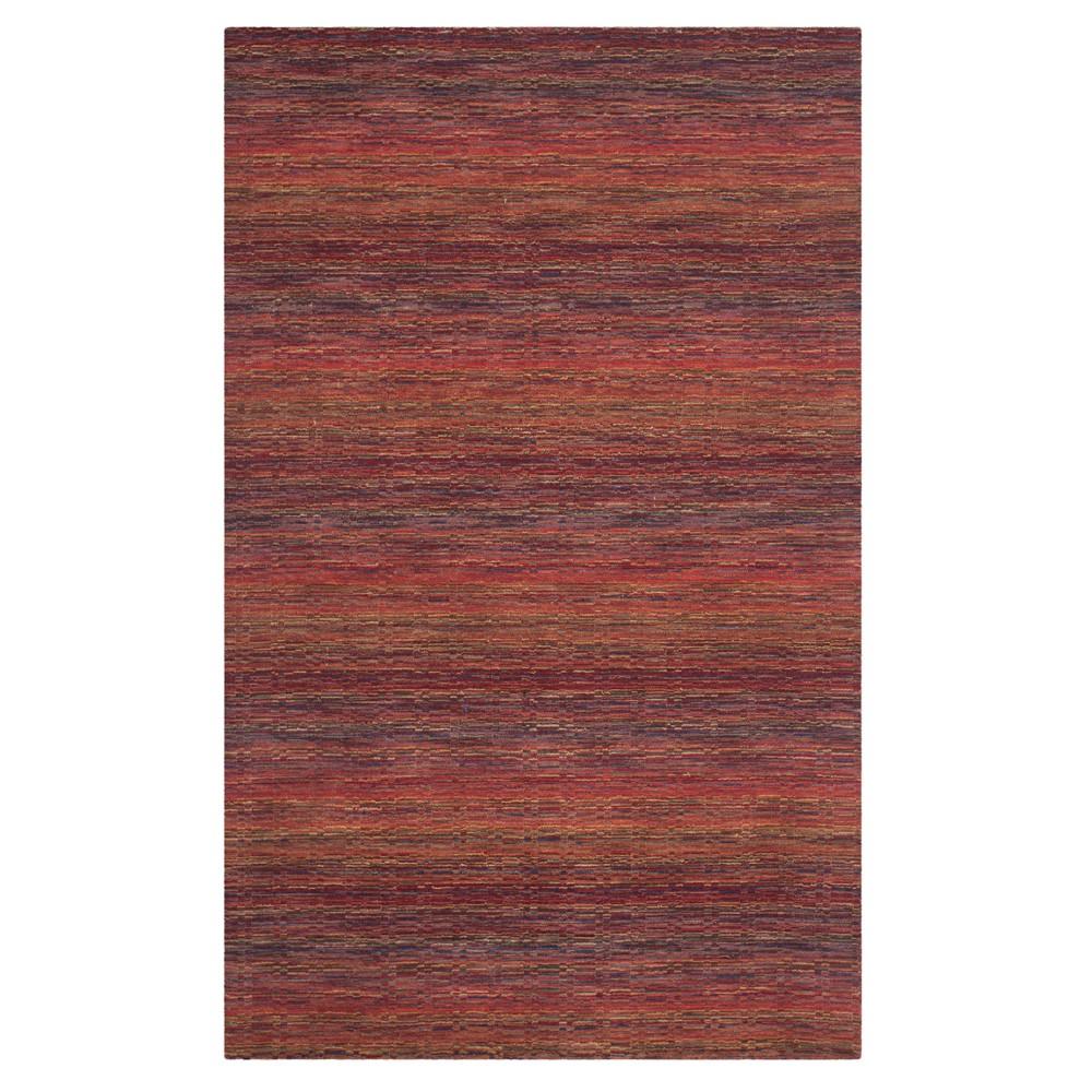 Red Stripe Loomed Area Rug 5'X8' - Safavieh, Rednmulti-Colored
