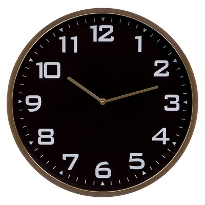 "16""x16"" Round Essential Gold and Black Wall Clock Gold - Patton Wall Décor"