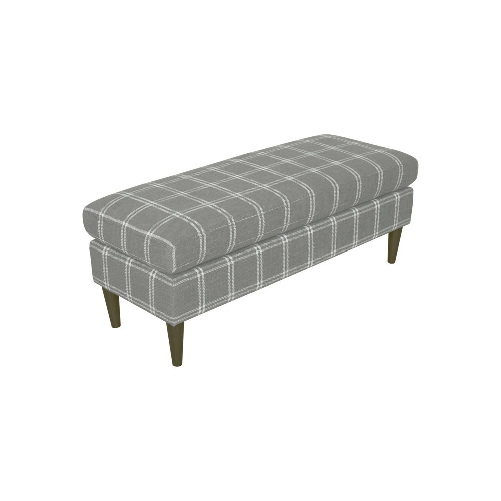 Ashton Large Decorative Bench with Pillow Top Gray Plaid - Homepop was $239.99 now $179.99 (25.0% off)