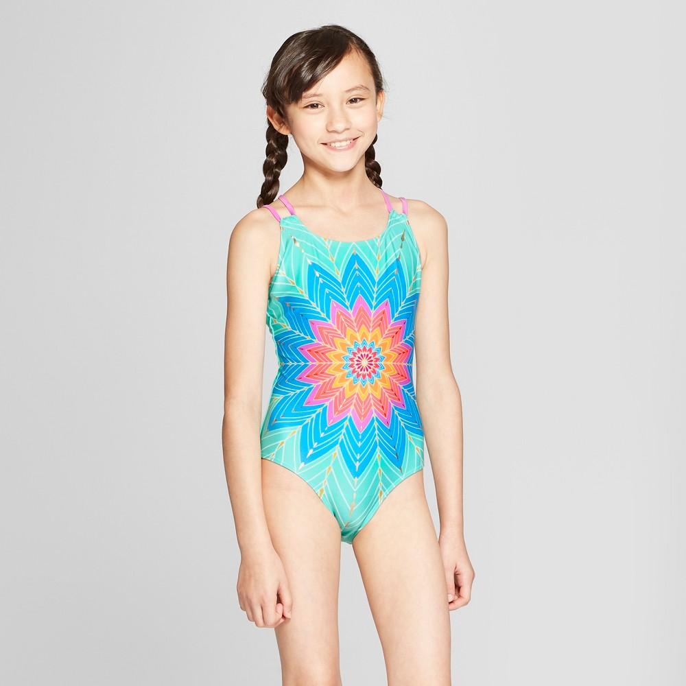 Girls' Solar Radiation One Piece Swimsuit - Cat & Jack Aqua XL, Blue