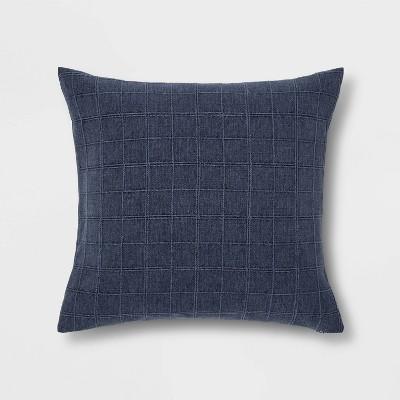 Oversized Woven Washed Windowpane Square Pillow Blue - Threshold™