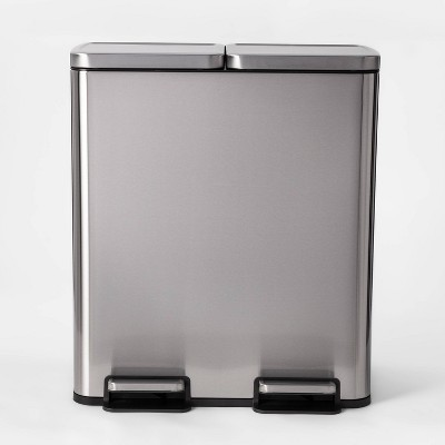 60L Stainless Steel Step Trash and Recycle Can - Made By Design™