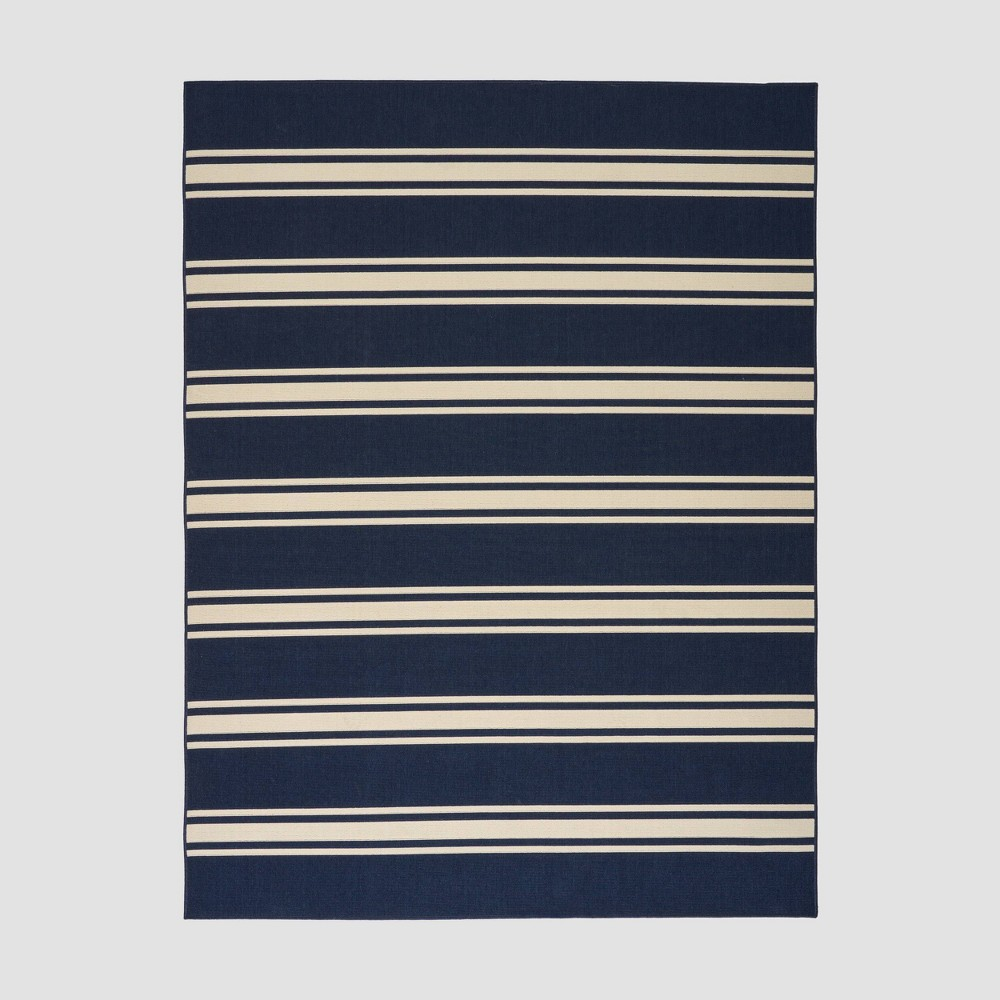 7'10 x 10' Cabana Stripe Outdoor Rug Navy/Ivory - Christopher Knight Home, Blue