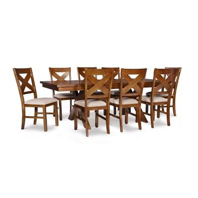 9pc Jackson Extendable Dining Table Set Dark Hazelnut - Powell Company