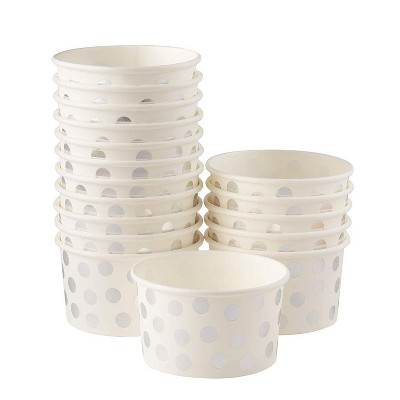 Juvale 50 Pack 8 oz Silver Polka Dots Disposable Paper Ice Cream Sundae Cups Yogurt Bowls Party Supplies