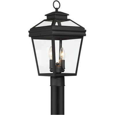 "John Timberland Traditional Outdoor Post Light Fixture Textured Black 18 1/2"" Clear Glass for Exterior House Garden Yard Walkway"