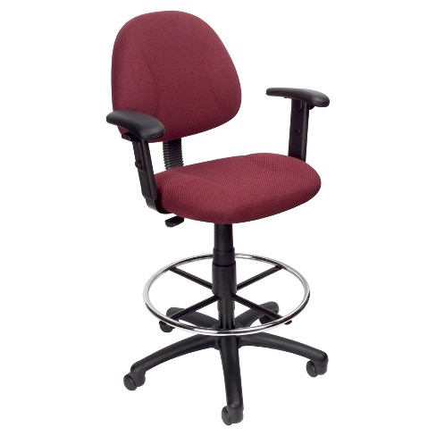 Drafting Stool with Footring And Adjustable Arms Burgundy - Boss Office Products - image 1 of 4