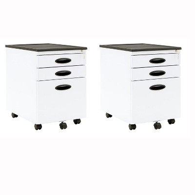Calico Designs Home Office Furniture Storage 3 Drawer File Cabinet White, 2  Pack : Target