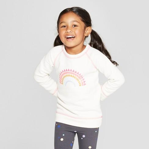 Toddler Girls' Long Sleeve Rainbow Sweatshirt - Cat & Jack™ Almond Cream 5T - image 1 of 3