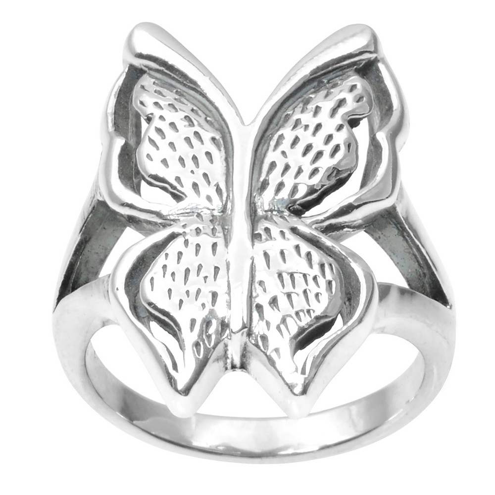 Women's Journee Collection Butterfly Split Band Ring in Sterling Silver - Silver, 9
