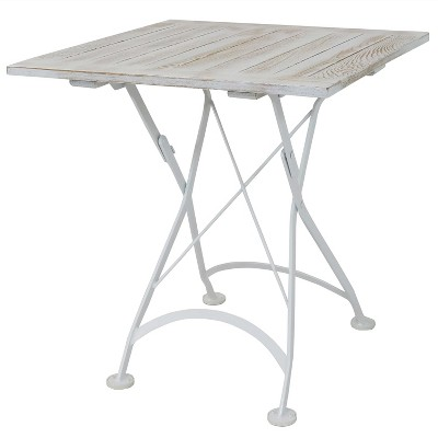 "Sunnydaze Indoor/Outdoor European Chestnut Wood Folding Square Bistro Dining Table - 28"" - Antique White"