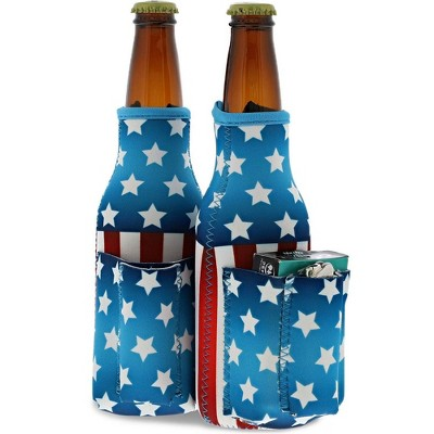 Juvale 2-Pack Patriotic Beer Bottle Cooler Sleeves with Attached Cigarette & Lighter Holder, USA Stars & Stripes Flag Design, Fits 12 oz Bottles