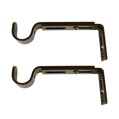 Set of 2 Drapery Rod Brackets Brown Brown - Versailles Home Fashions
