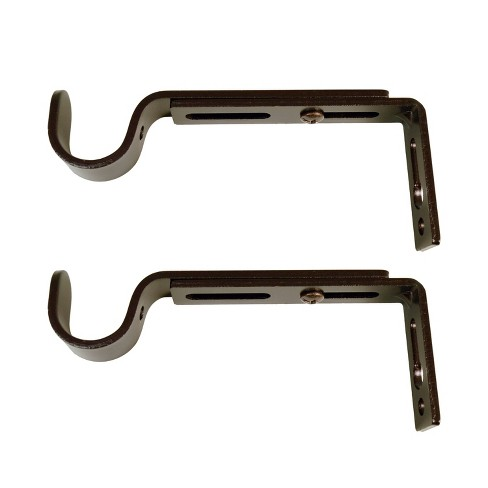 Set of 2 Drapery Rod Brackets Brown Brown - Versailles Home Fashions - image 1 of 3