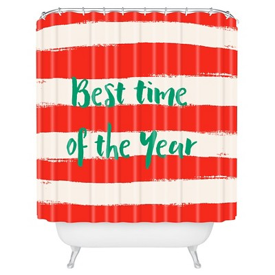 Zoe Wodarz Best Time Of The Year Shower Curtain Red - Deny Designs