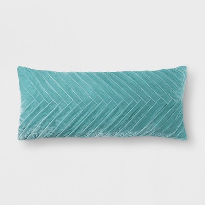 Aqua Pleated Velvet Lumbar Pillow - Opalhouse™