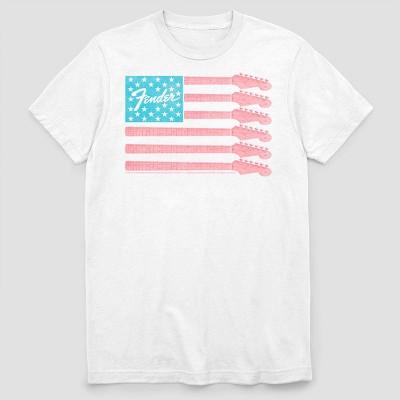 Men's Fender Guitar Flag Short Sleeve Graphic Crewneck T-Shirt - White