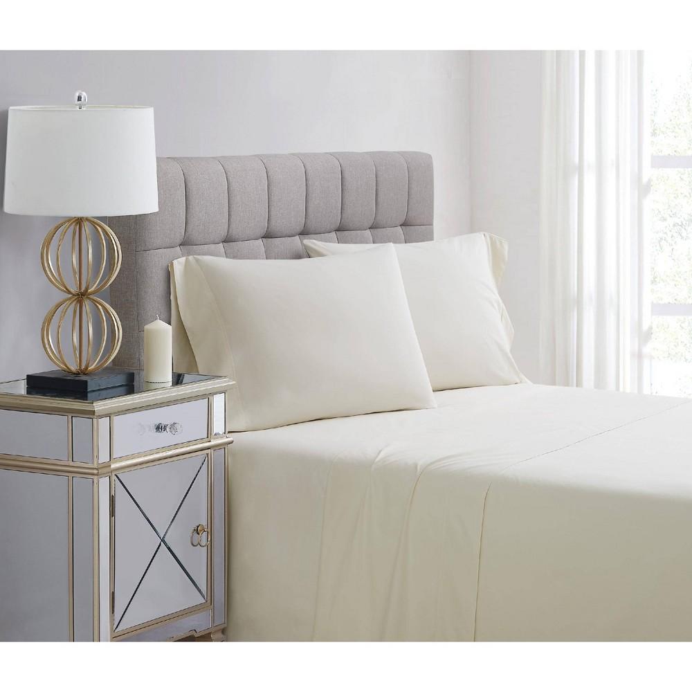 King 400 Thread Count Solid Percale Pillowcase Set Vanilla - Charisma Buy