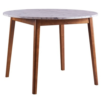 Ashton Round Dining Table with Faux Marble Top Solid Wood Leg Walnut - Teamson Home