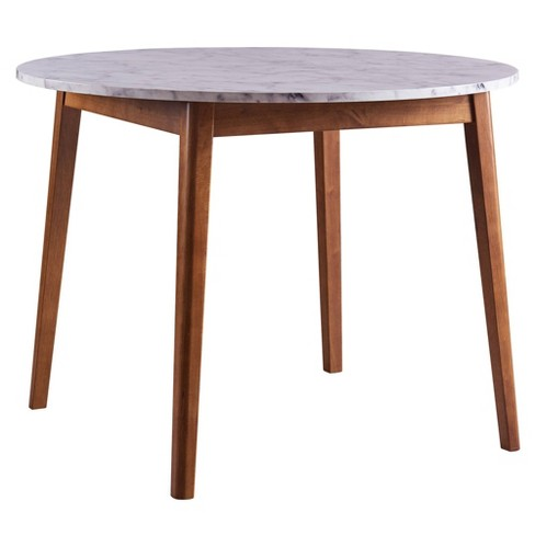Ashton Round Dining Table With Faux Marble Top Solid Wood Leg Walnut Finish  - Versanora