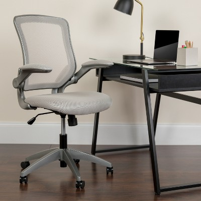 Flash Furniture Mid-Back Mesh Swivel Ergonomic Task Office Chair with Gray Frame and Flip-Up Arms