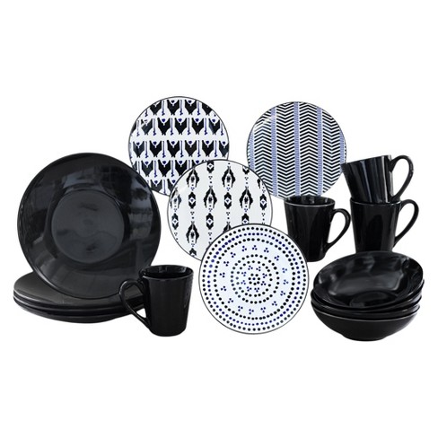 Baum Bros.® Ikat 16pc Dinnerware Set Black - image 1 of 1