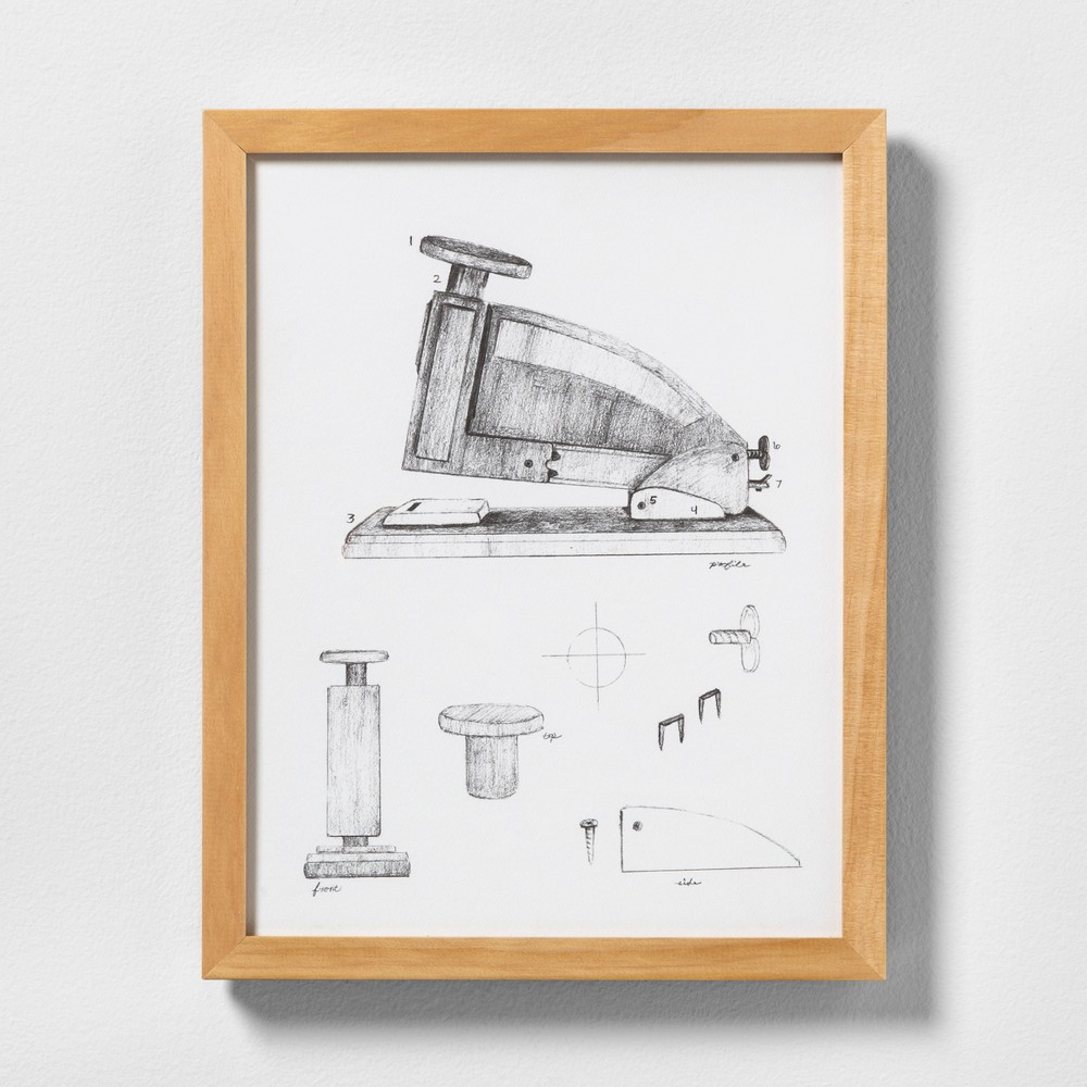 "Image of ""11"""" X 14"""" Stapler Wall Art with Natural Wood Frame - Hearth & Hand with Magnolia"""