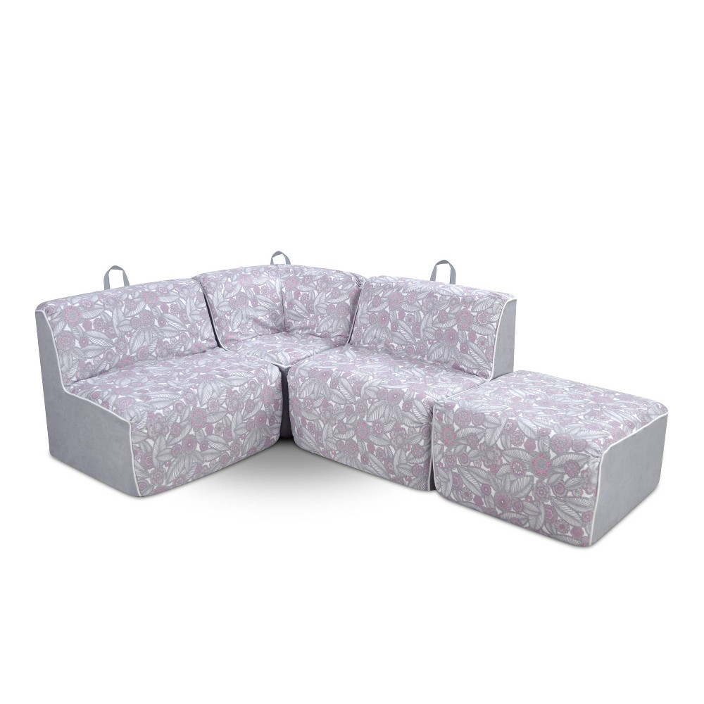 Image of 4pc Kid's Foam Sectional Set Pink/White/Gray - Kangaroo Trading Company