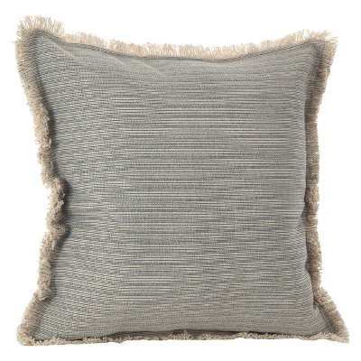 Blue-Gray Canberra Fringed Morrocan Throw Pillow (20 )- Saro Lifestyle®