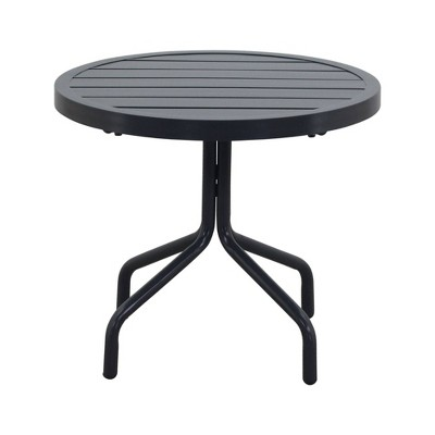 "Santa Fe 20"" Round Side Table Aluminum Slat Top - Silver - Courtyard Casual"