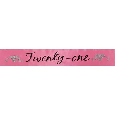 "Elope Birthday Sash ""Twenty-One"" Hot Pink One Size"
