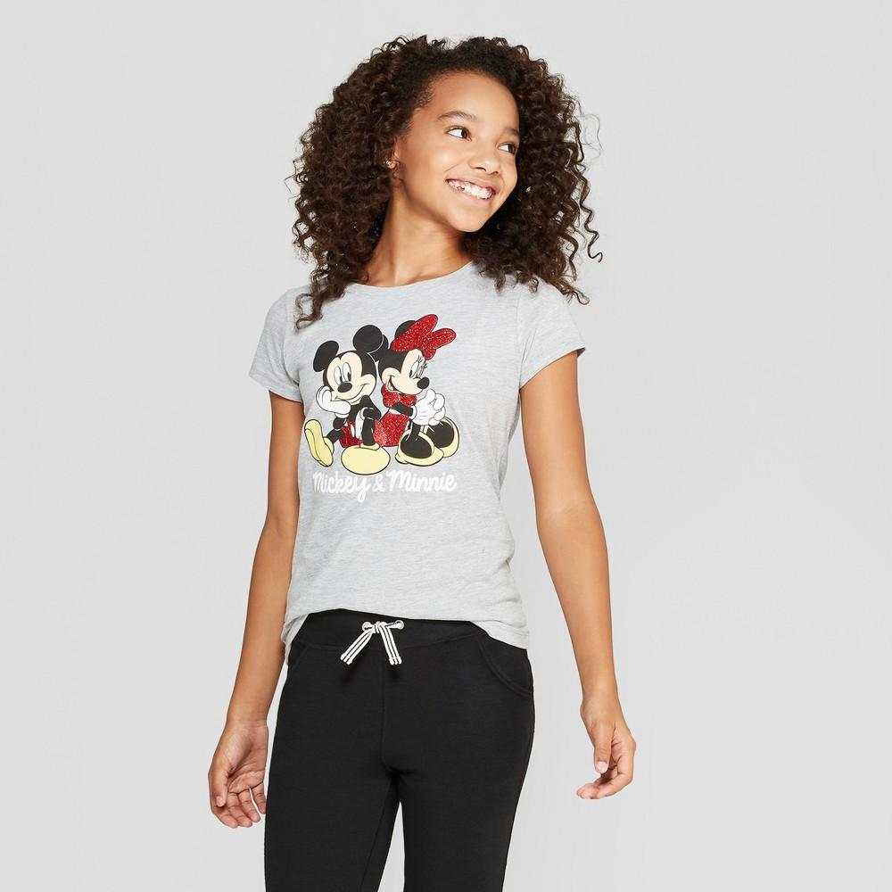 Girls' Disney Mickey & Minnie Graphic Short Sleeve T-Shirt - Heather Gray XS