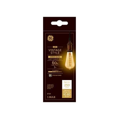 Vintage Aline ST19 shape Spiral Amber LED Light Bulb White - General Electric